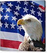 Bald Eagle And American Flag Canvas Print