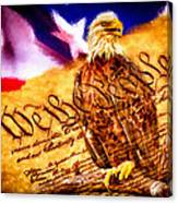 Bald Eagle With American Flag And Constitution Art Landscape Canvas Print