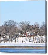 Bald Eagles In Tree In Grand Rapids Ohio Panorama Canvas Print