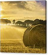 Bales In The Morning Mist Canvas Print