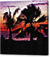 Bali Sunset Impasto Paint Version Canvas Print