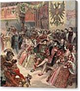 Ball At The Court, Illustration Canvas Print