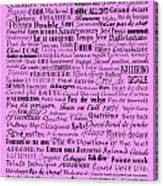 Ballet Terms Black On Pink  Canvas Print