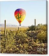 Balloon Ride Over The Desert Canvas Print