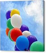 Balloons Against A Cloudy Sky Canvas Print