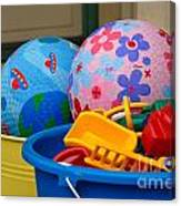 Balls And Toys In Buckets Canvas Print