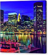 Baltimore Harbor By Night, Baltimore Canvas Print