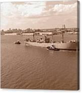 Baltimore Harbor In Sepia Canvas Print