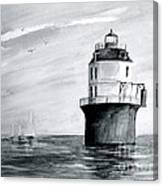 Baltimore Lighthouse In Gray  Canvas Print