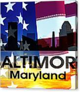 Baltimore Md Patriotic Large Cityscape Canvas Print