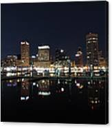 Baltimore Skyline At Night Canvas Print