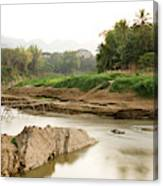Bamboo Bridge At The Tip Of The Luang Canvas Print