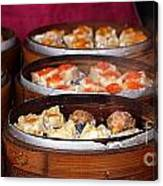 Bamboo Steamers With Dim Sum Dishes Canvas Print