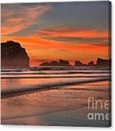 Bandon Sunset And Surf Canvas Print