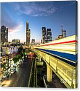 Bangkok Sky Train Rush Canvas Print