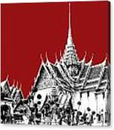 Bangkok Thailand Skyline Grand Palace - Dark Red Canvas Print
