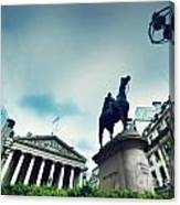 Bank Of England The Royal Exchange And The Wellington Statue Londonuk Canvas Print