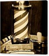 Barber - Barber Pole - Black And White Canvas Print