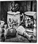 Barber - Shaving Mugs And Brushes In Black And White Canvas Print