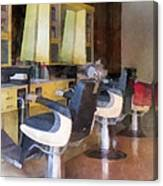 Barber - Small Town Barber Shop Canvas Print