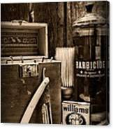 Barber - Vintage Barber Tools - Black And White Canvas Print