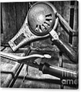 Barber - Vintage Hair Care In Black And White Canvas Print