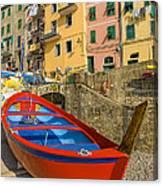 Barca Rossa A Rio Maggiore Canvas Print
