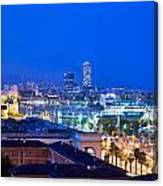 Barcelona And Its Skyline At Night Canvas Print