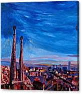 Barcelona City View And Sagrada Familia Canvas Print