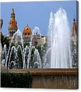 Barcelona Fountain Placa De Catalunya Canvas Print