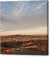 Barcelona On Sunrise. Aerial View Canvas Print