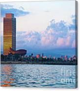 Barcelona Skyline From Sea Canvas Print