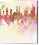 Barcelona Skyline In Watercolour Background  Canvas Print