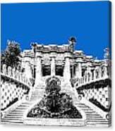 Barcelona Skyline Park Guell - Blue Canvas Print