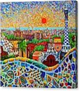 Barcelona View At Sunrise - Park Guell  Of Gaudi Canvas Print