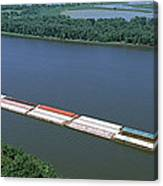 Barge In A River, Mississippi River Canvas Print
