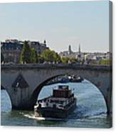 Barge On River Seine Canvas Print