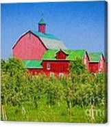 Barn And Apple Orchard Canvas Print