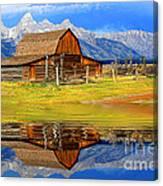 Barn And Teton Reflections. Canvas Print