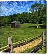 Barn At Hartwood Acres Under Beautiful Sky Canvas Print