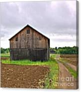 Barn By The Road Square Canvas Print