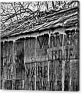 Barn Ghost Sign In Bw Canvas Print
