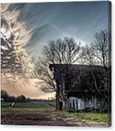 Barn In A Field With A Horse Canvas Print