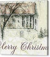Barn In Snow Christmas Card Canvas Print