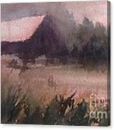 Barn In The Fog Canvas Print