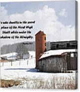 Barn In Winter With Psalm Scripture Canvas Print