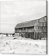 Barn Quebec Province In  Black And White Canvas Print
