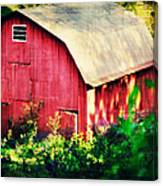 Barn Red Sunset Canvas Print