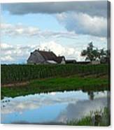 Barn Reflected In Pond  Canvas Print