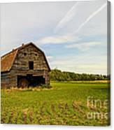 Barn On The Field Canvas Print